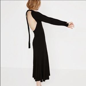 Zara knit black open back dress size small